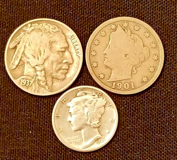 Old US Coins Starter Collection Lot of 3 Rare US Coins. NO CULL COINS.
