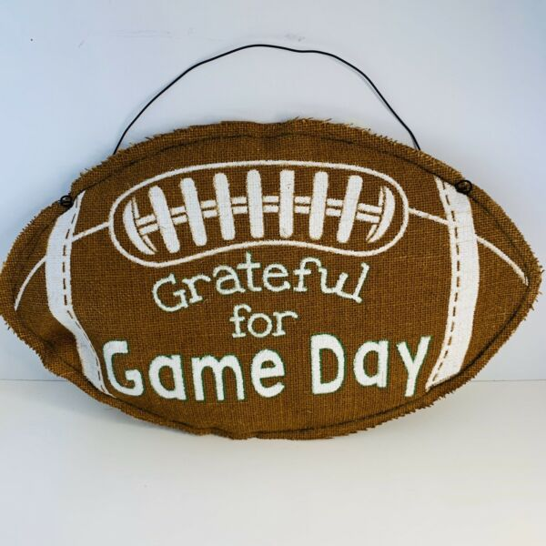 Thankful for Game Day  Football Party Decoration Wall Door Hanging Burlap Sign