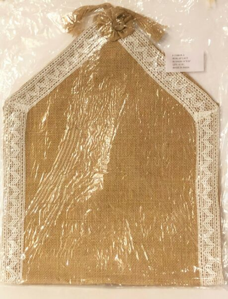 Burlap Table Runner 36 x14 Inch Lace Trim and Yoyo Flower Accents New