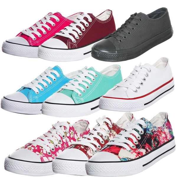 Women's Classic Lace up Low Top Casual Comfortable Walking Fashion Canvas Skate