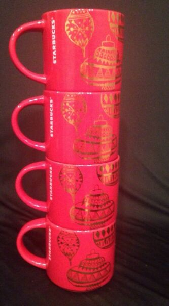 SET of 4 2015 Starbucks Cups Christmas Holiday Red amp; Gold Ornament Ceramic Mugs