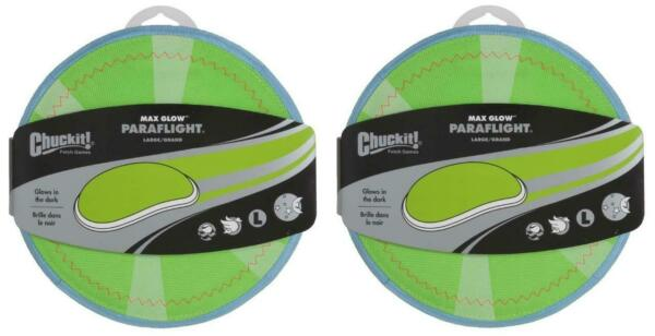 (2 Pack) Chuckit! Max Glow Paraflight Dog Toy Large 9.75