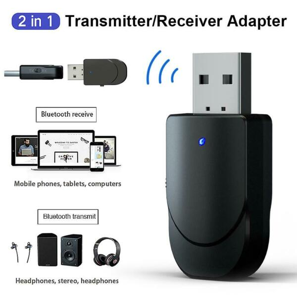 USB Bluetooth 5.0 Receiver Adapter 3.5mm AUX Stereo For TV PC Headphone Speaker