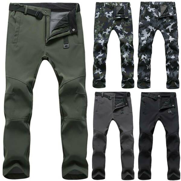 Mens Thick Soft Shell Outdoor Long Trousers Casual Hiking Waterproof Pants S-3XL