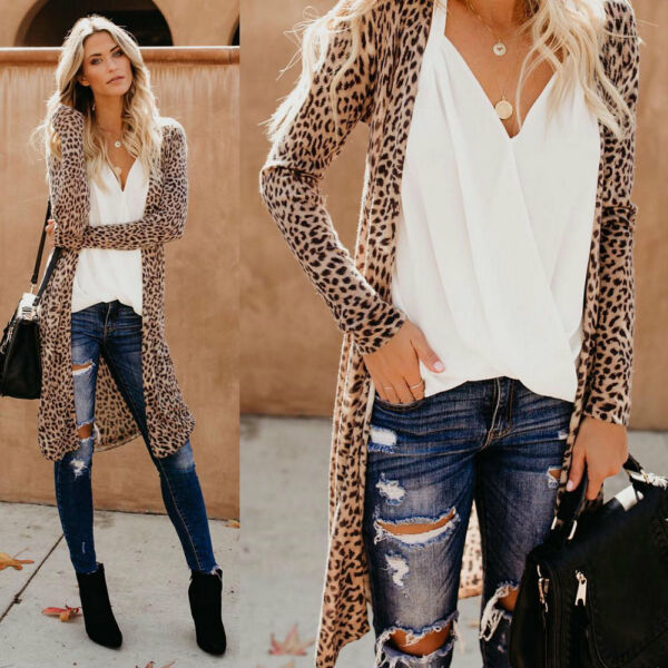 Womens Loose Long Sleeve Cardigan Ladoes Leopard Warm Shawl Blouse Tops Jackets