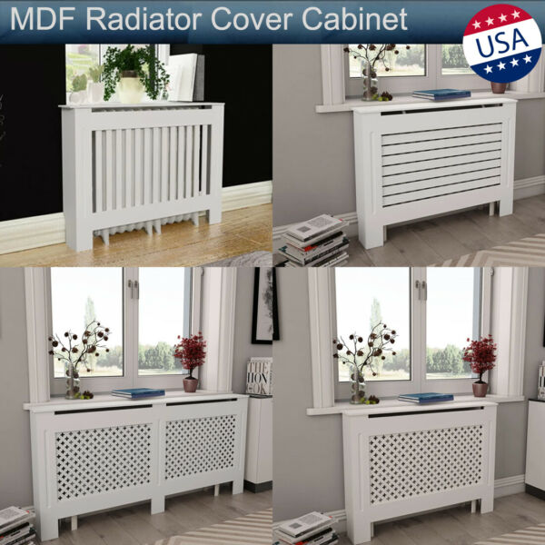 MDF Radiator Cover Heating Wall Cabinet Fireplace Mantel White Modern Home Decor