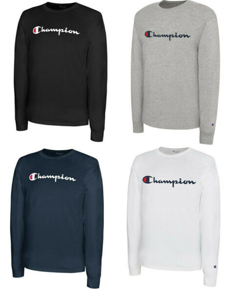 CHAMPION Classic Script Logo LONG SLEEVE Athletic T-Shirt Tee New