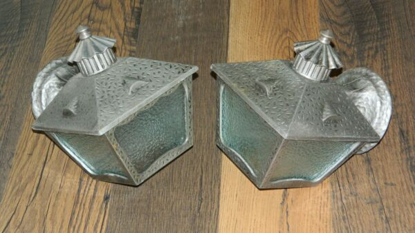 2 Vintage Cast Aluminum Exterior Light Fixtures Porch Lamps Hammered Finish