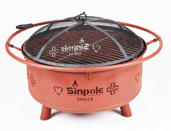 Wood Burning&Charcoal Fire Pit Patio Fireplace BBQ Oven Campfire Grill Outdoor