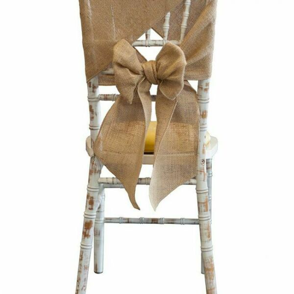 HESSIAN BURLAP SASHES AND MATCHING TABLE RUNNERS WEDDING CHAIRS EVENTS