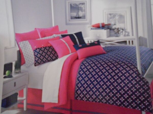 NEW SOUTHERN TIDE THE SHORELINE NAUTICAL NAVY PINK 4 PIECE KING COMFORTER SET
