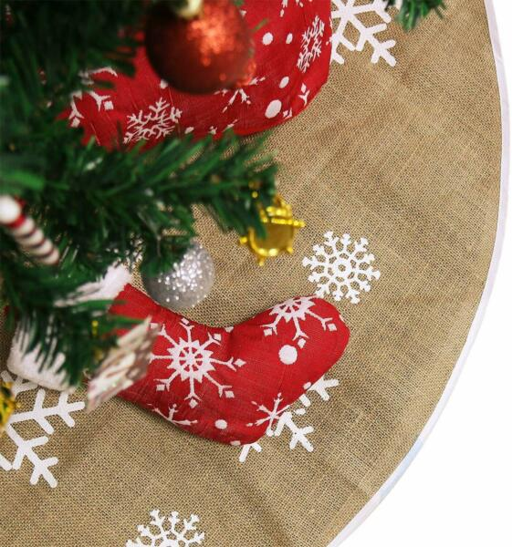 48 Inches Christmas Tree Skirt Natural Burlap with Brown Color Cozy and Perfect