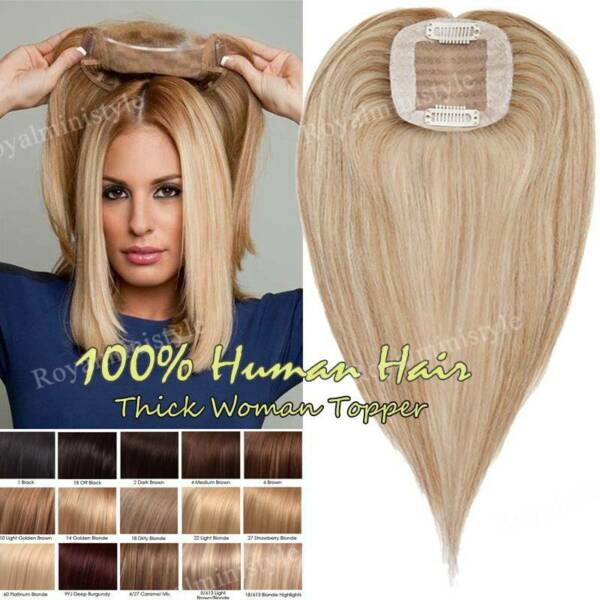 Women Crown Hair Topper Hairpiece Human Hair Half Wigs Toupees For Loss Hair US