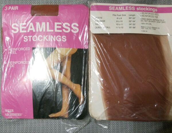 VINTAGE Garter Style Seamless Nylon Stockings in Orig pkcg fits 8.5 9 3 pair Sun