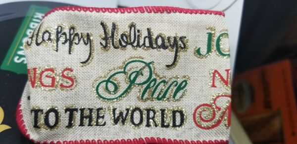 Christmas Ribbon Wired Edged Faux Burlap quot;X Mas Sayingsquot; 50 Yards by 2.5 inches