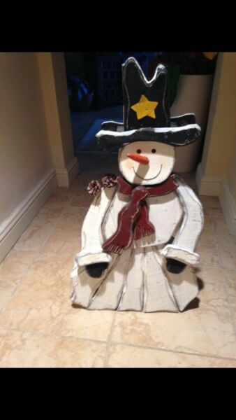 rustic wooden snowman adorable approx 35.5