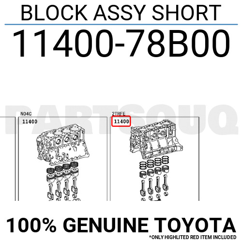 1140078B00 Genuine Toyota BLOCK ASSY SHORT 11400-78B00