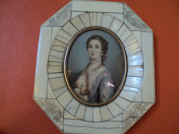 old small french hand painted portrait signed jules Dupré XIXc beautiful lady