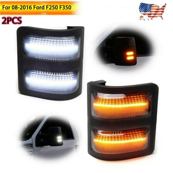 For 08-2016 Ford F250 F350 Smoked Lens LED Side Mirror Marker Lights Switchback