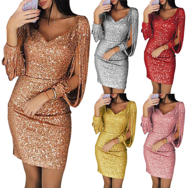 Women Sexy Deep V Sequined Long Sleeve Mini Dress Bodycon Cocktail Evening Party