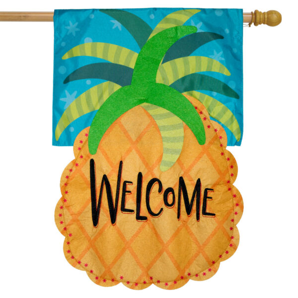 Welcome Pineapple Applique House Flag Everyday 28