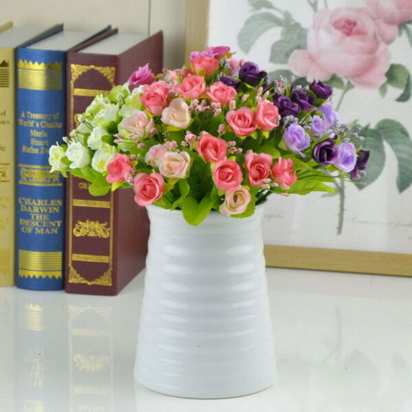 21 Heads Artificial Silk Rose Flowers Bouquet Fake Leaves Wedding Home  Decor