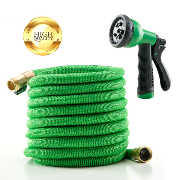 Deluxe 25 FT Water Hose Spray Nozzle Expandable Flexible Garden Green