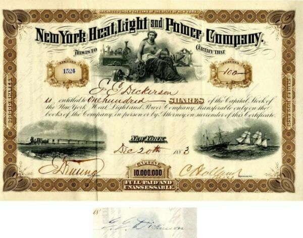 New York Heat Light and Power Company Issued to and signed by E.E. Dickinson $200.00