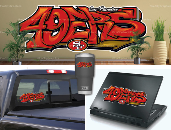 San Francisco 49ers Graffiti Vinyl Vehicle Car Laptop Sticker Decal