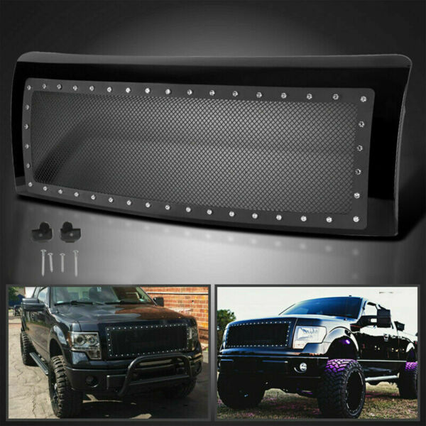 New Rivet Style Stainless Front Mesh Grille Hood Grill Fit 09-14 Ford F150 F-150