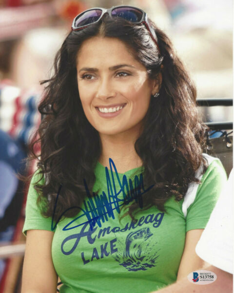 SALMA HAYEK SIGNED FRIDA DESPERADO 8X10 SEXY ACTRESS PHOTO BECKETT COA BAS