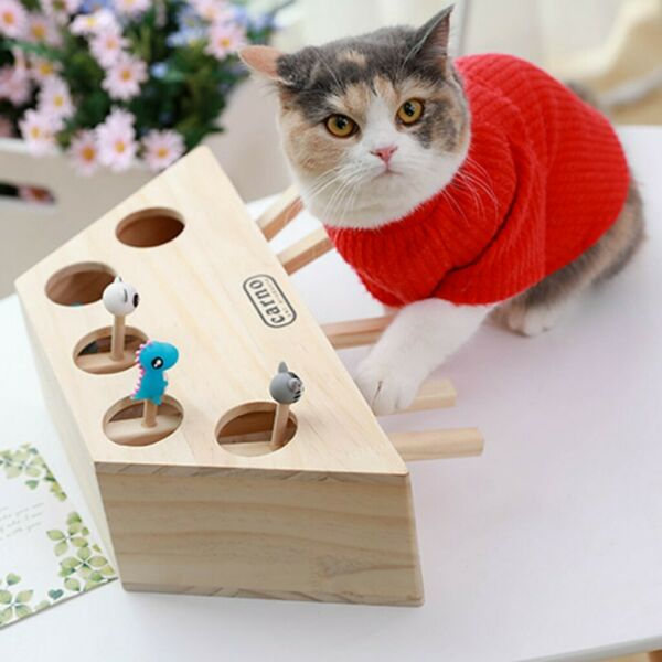 Pet Indoor Solid Wooden Cat Hunt Toy Interactive 35-Holed Mouse Seat Scratch