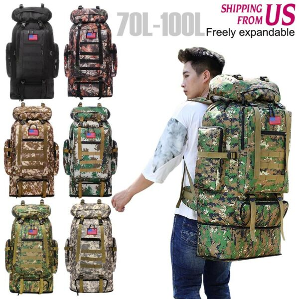 100L Outdoor large Backpack Hiking Camping Travel Bags Trekking Rucksack $31.34