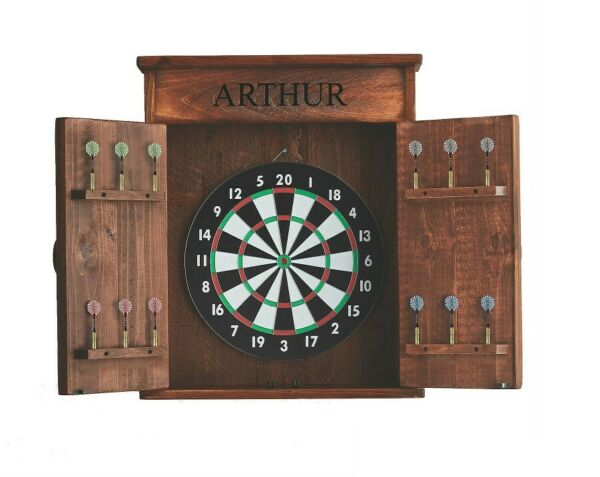 Solid Wood Personalized Mission Premium Party Game Room Play Dart Board Cabinet