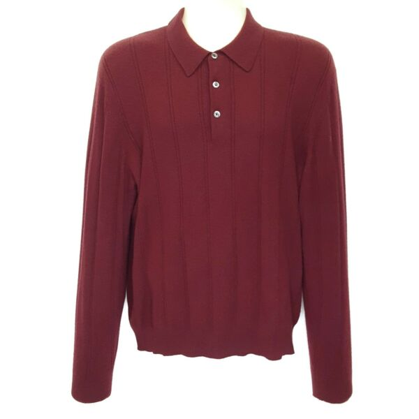 Tasso Elba Sweater Medium 100% Cashmere Polo Collar Stripe Burgundy Maroon Red