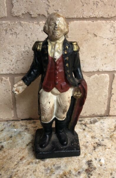 Antique Vintage Cast Iron George Washington Presidential Still Coin Bank