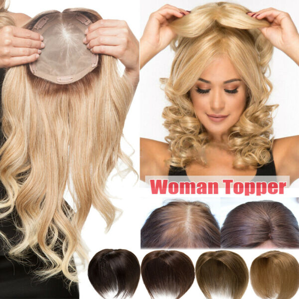 For Loss Hair Women Crown Hair Topper Hairpiece Human Hair Half Wigs Toupees US