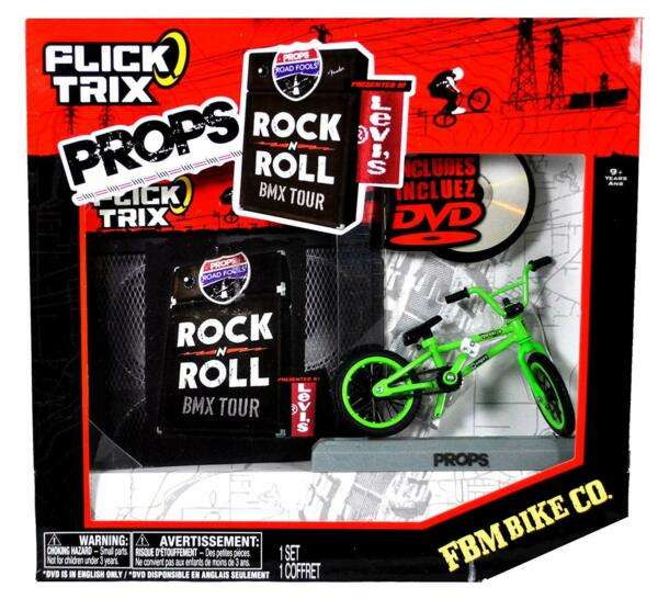 FLICK TRIX PROPS  Green FBM BIKE CO. with Display Base + DVD    NOS - small tear