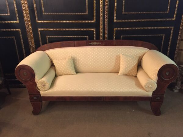 Original Empire Biedermeier Couch New Covered with Bronze Fittings um 18001810