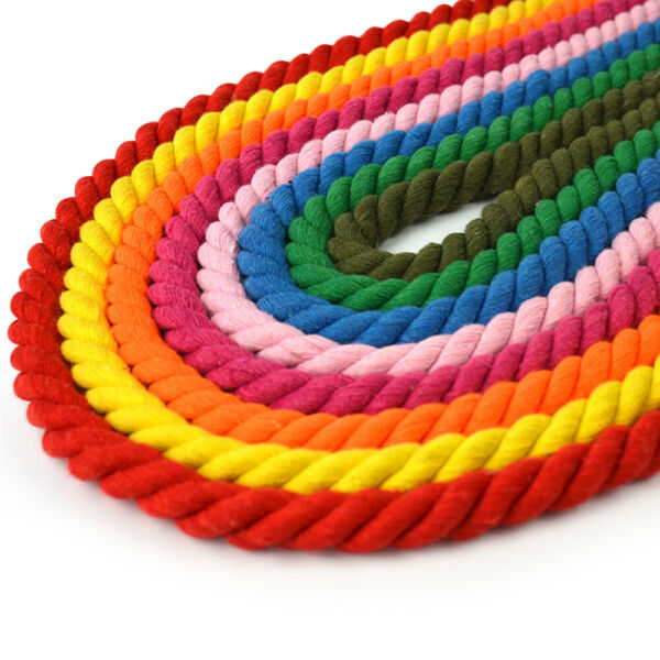 Colorful Twisted Cotton Rope 3 Strand Soft Cord for Sport Décor Pet Toys Craft