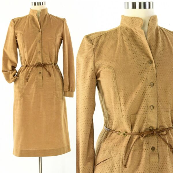80s Vintage Womens L Willi of California Faux Suede Eyelet Fabric Shirt Dress