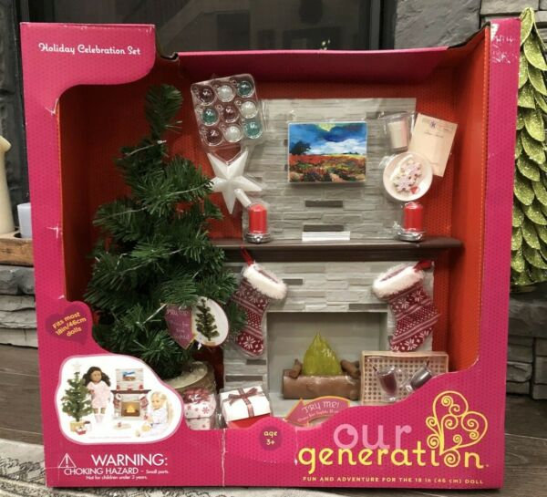 ~Our Generation Holiday Celebration Christmas Tree & Fireplace Set for 18