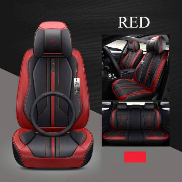 Deluxe 6D Car Seat Cover 5 Seats Seat  Leather+Sponge Layer Seat
