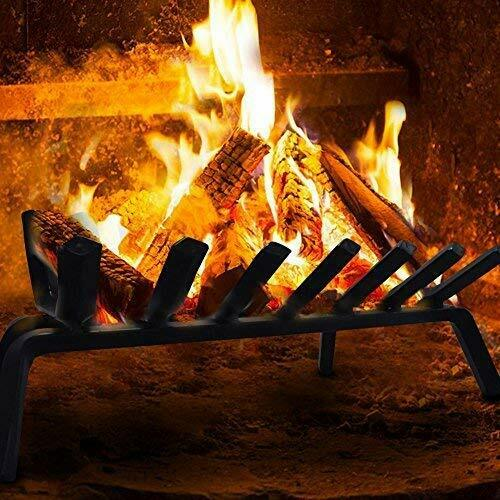 Fireplace Log Grate 24 inch Wide Heavy Duty Solid Steel Indoor 24