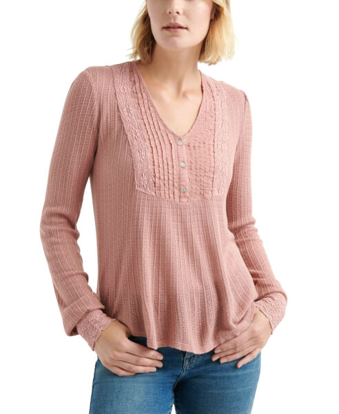 Lucky Brand Lace Mix Drop Needle Top Pink