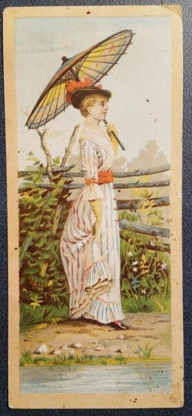 1880s Myrtle Ave Brooklyn NYC Trade Card WM. O'Neill Furniture Woman w Umbrella $6.95