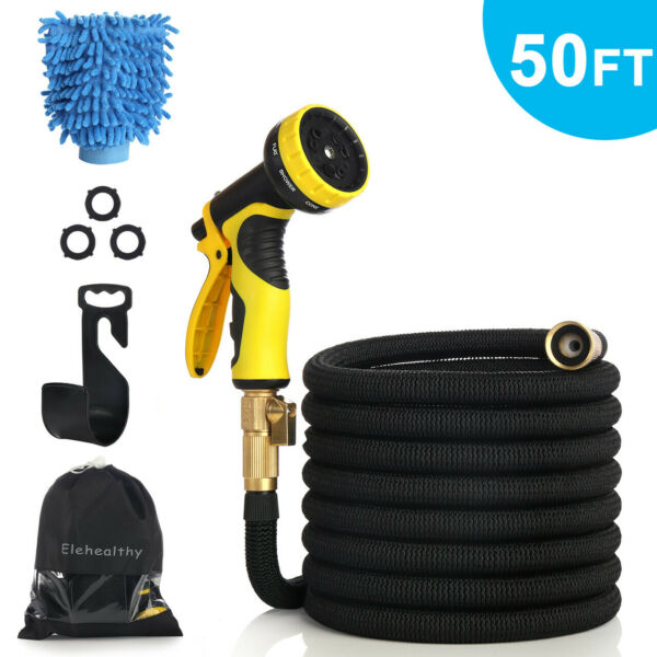 50Ft Expandable Flexible Garden Hose Water Pipe w Spray Gun Nozzle Car Wash