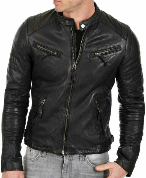 MENS GENUINE LEATHER JACKET SLIM FIT REAL CAFE RACER BIKER NEW  VINTAGE St-B54