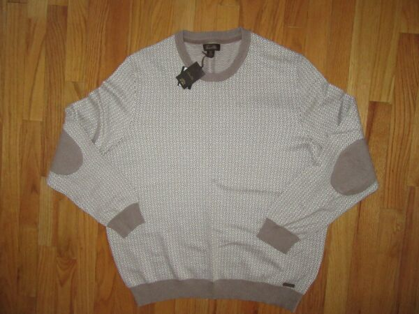 Tasso Elba XXL Men's Luxury Pearl Taupe Cashmere Cotton Crew Sweater Very NICE