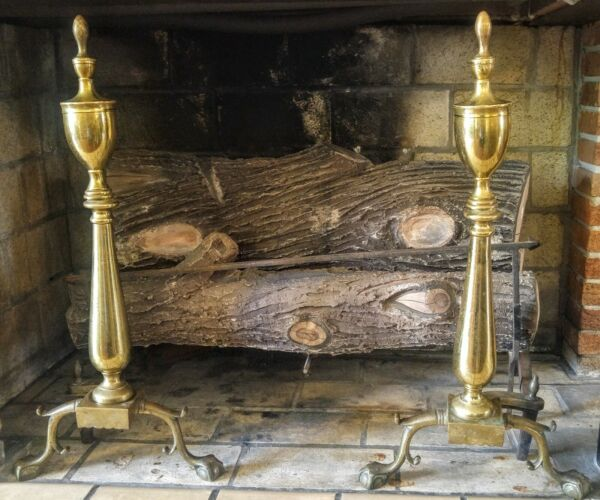 Vintage Puritan Federal Style Claw & Ball Brass Cast Iron Fireplace Andirons